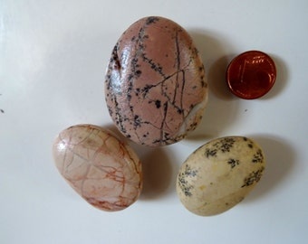 Beach stone fridge magnets. Natural waxed beach stones. Set of 3.  Gift magnets.