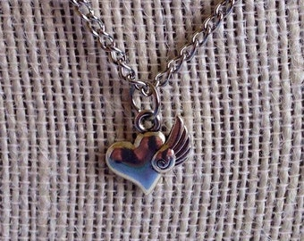 Flying Heart Necklace - Heart Charm Pendant