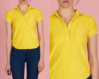 Awesome Vintage 80s XS Bright Canary Yellow Velour Polo Shirt with Pocket