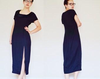 Vintage BLACK Virgo II Party Dress | Silky Layered Collar | Side Slit Detail | Size 8