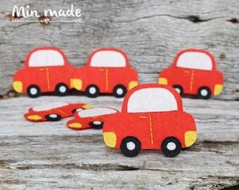 2 PCS Handmade Felt Red Car Applique (FA019)