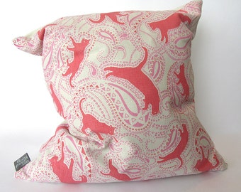 Throw Pillow - Paisley Cat Pattern - red pink