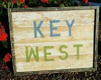 Distressed KEY WEST sign, hand painted rustic sign. Distressed wooden sign - Key West decor.