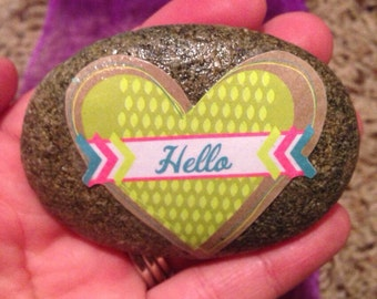 Hello, Friendship, paperweight, paper weights, stone decor, garden decor, decorated stones.