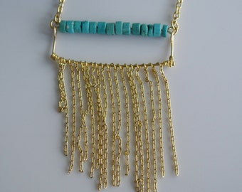 Gold and Turquoise Fringe Necklace