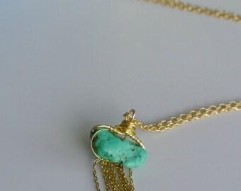 Fringe necklace with turquoise stone pendant