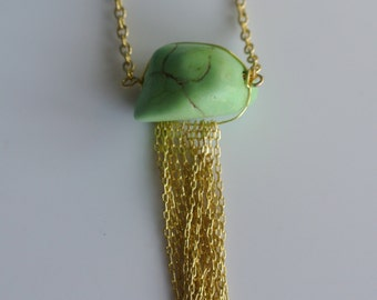 Gold Fringe Tassel Necklace with Green Stone