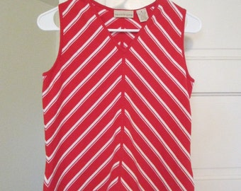 Retro Red and White Candy Stripe Tank Top
