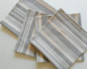 "Large Linen Napkins, Cloth Napkins, Dinner Napkins, 18"" x 18"", set of 4, natural/linen/stripes."