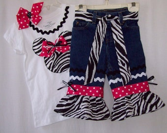 Custom boutique little girls Disney zebra Minnie Mouse jeans & shirt all sizes