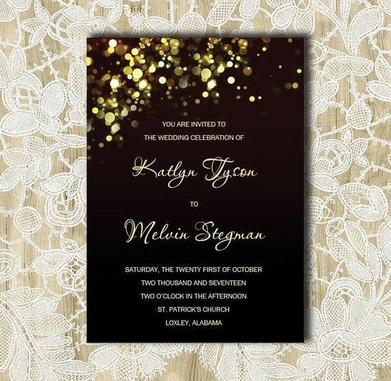 black and gold wedding invitation gold sparkles bubbles