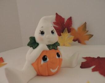 Handpainted Ceramic Halloween Ghost, Pumpkin Belly Ghost Halloween decoration