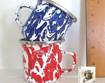 Vintage Enamelware Cups, Red and Blue on White, 4th of July. Patriotism. America. Spatterware, Graniteware Mugs - Set of 2