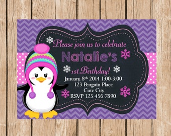 Cute Penguin Birthday Invitation