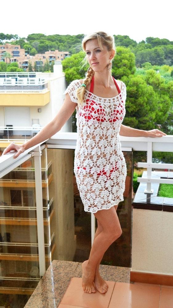 Crochet lace dress pattern women Beach gown Summer tunic Boho