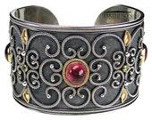Parthenon Greek,Byzantine bracelet,Handmade bracelet,Silver and Gold 18k,Cuff Bracelet,Sterling silver,18k solid gold,Tourmaline