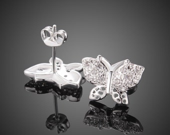 silver earrings butterfly stud earrings 925 sterling silver plated fashion