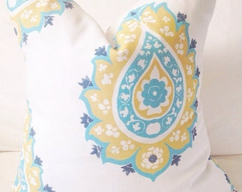 turquoise, white and yellow cushion cover, pillow cover, pillow case, decorative pillow