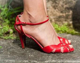 Sassy Red Vintage Italian Heels Women's Size 7