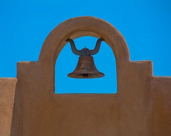 Southwest Photo Art, Church Bell, Bell Tower, Southwest Decor, Adobe Bell Tower, Santa Fe Decor, Minimalistic Art, Blue, Beige