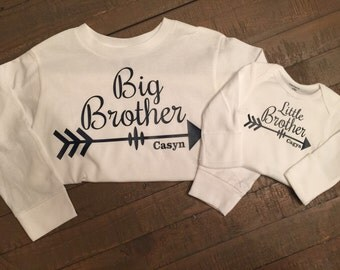 Long Sleeve Big Brother Little Brother Arrow Shirt Set