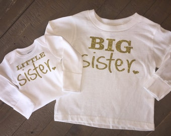 Long Sleeve Big Sister Little Sister Shirt Set - with personalization available