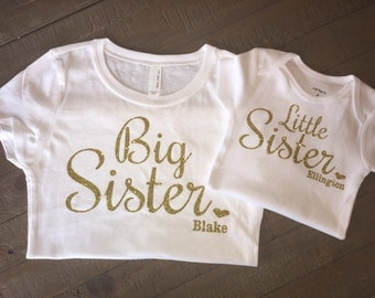 Personalized Big Sister Little Sister Shirt Set