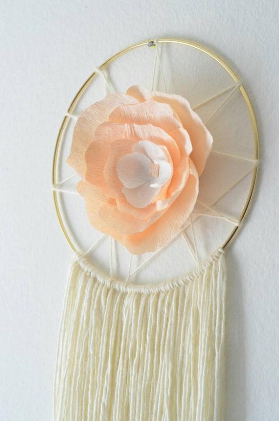 Boho paper flower yarn wall hanging nursery wall art for Crepe paper wall flowers