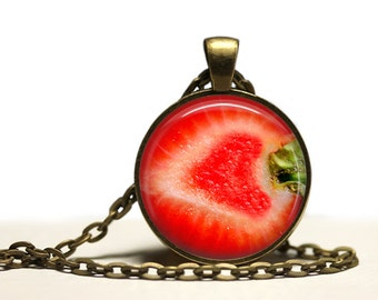 Cut Strawberry pendant Berry necklace Fruit jewelry