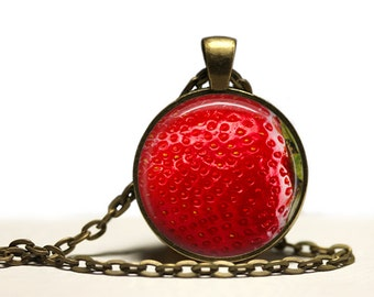Berry necklace Fruit jewelry Strawberry pendant