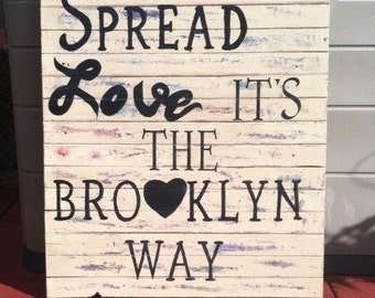Large Rustic  grunge Brooklyn wall art sign