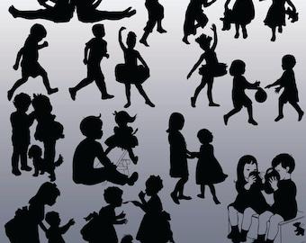 12 Children Silhouette Images, Digital Clipart Images, Clipart Design Elements, Instant Download, Black Silhouette Clip art