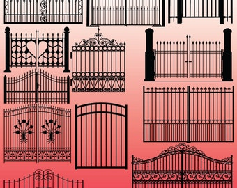 12 Gate Silhouette Clipart Images, Clipart Design Elements, Instant Download, Black Silhouette Clip art