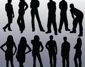 12 Person Silhouette Digital Clipart Images, Clipart Design Elements, Instant Download, Black Silhouette Clip art