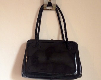 SALE WAS 18 Handbag. 1980s Black PVC Top Handle Maid Marion Bag. Fabric Handles.Christmas, Birthday Gift For Her. Made In England Mother's D