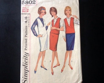 "Sewing Pattern Simplicity 5802 Vintage 1960s Teens' Jumper Or Top, Blouse and Skirt. Size 14t, 10-12, Bust 34""."