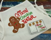 Child Size Official Cookie Tester Apron and License - Christmas Apron - Kids Apron