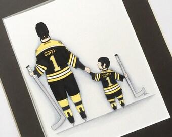 Sports nursery decor. Boston Bruins hockey decor. Hockey Nursery Wall Art. Father and Son 8x10 watercolor.