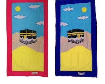 Islamic prayer rug for children, specially designed to inspire little kids to pray.