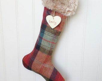 Personalised Red Tweed Christmas Stocking