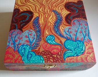 Underwater Psychedelic Vibrant Colored Wooden MOJO Box