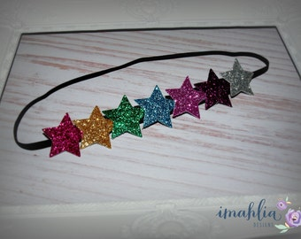 Rainbow Bright Glitter Star Headband - Girls Headband - Glitter Headband