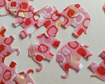 50 elephant confetti, patterned elephant punches, pink, orange, red paper elephants, table decoration, elephant baby shower, scrapbooking