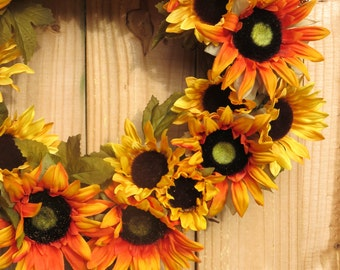 Sunflower Wreath, Fall Wreath For Front Door, Sunset Wreath, Thanksgiving Wreath, Fall Wreath, Autumn Wreath, Front Door Wreath
