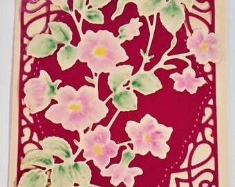 Pink Posies on Metallic Cranberry Frame Card