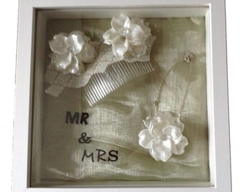 small personalised 3D memory frame keepsake display - ideal wedding present
