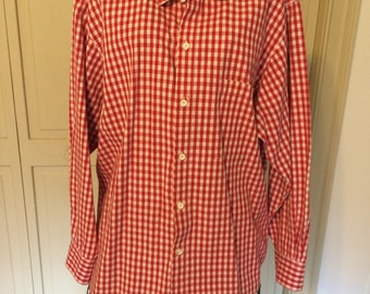 Red Gingham Blouse by ACA 531, size Medium