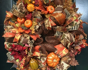 Deco Mesh Fall Wreath, Fall Wreath, Thanksgiving Wreath, Fall Front Door Wreath, Pumpkin Wreath, Fall Mesh Wreath