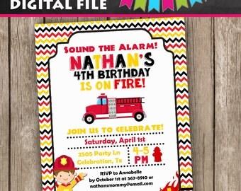 Fireman Invitation, Fire truck invitation, Firefighter Invitation,Firetruck Invitation, Birthday Invitation, Fire truck Birthday, Invitation