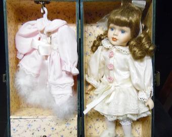 Vintage Wooden Leather Doll Case with Porcelain Doll Vintage Unique